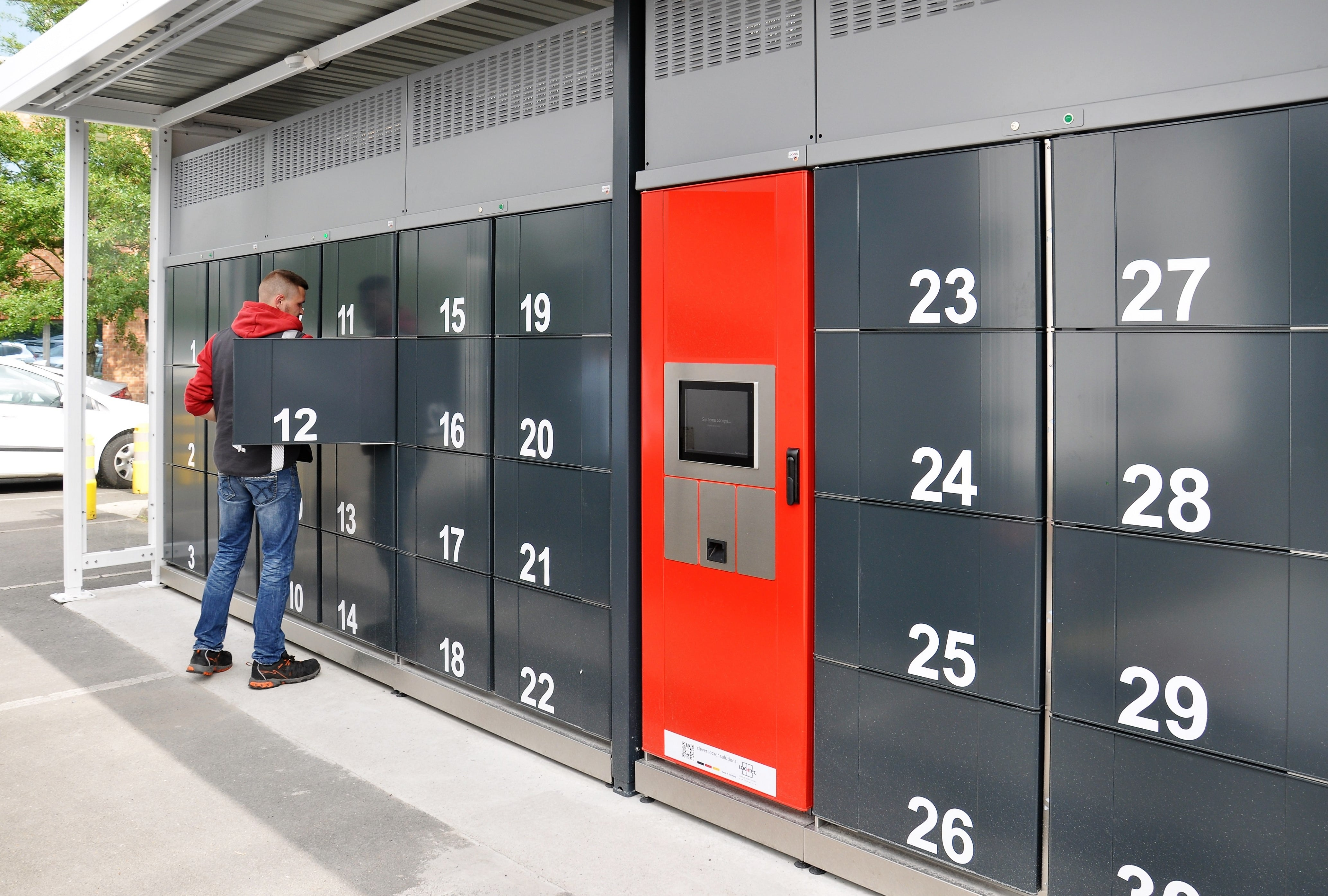Pickup station cool lockers. Refrigerated lockers from LockTec: partly covered outdoor locker system with chilled, freezing and heated compartments.