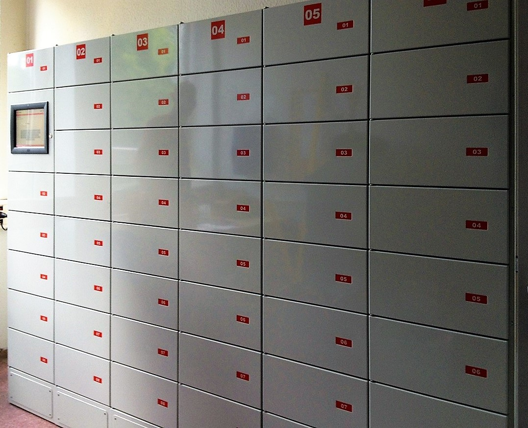 Parcel locker Servicebox. Pickup station can be used for internal management and handover of devices and tools.